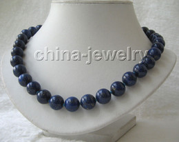 """AAAA18""""12mm natural perfect round lapis lazuli necklace"""