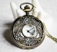 Wholesale Mixture model Unisex BRONZY NET Style Steampunk Brass Necklace Pocket Watch Women s Watches Mens