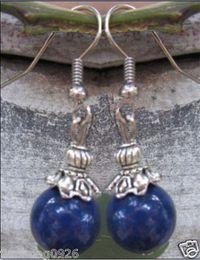 4pcs 2pair Tribal tibet silver 12mm blue jade Gems beads Earring