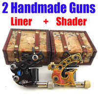 Wholesale 2 Top Handmade Danny Fowler Tattoo Machine Gun Kit Shader Liner Gift Box A01