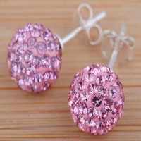 Wholesale Elegant Silver Shining mm Pink Crystal Disco Ball Bead Stud Earring pairs Mixed New