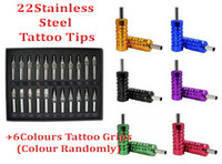 Wholesale 6 Aluminum Alloy Tattoo Grips amp Tubes Gift Set of R F D Sizes Stainless Steel Tattoo Tips