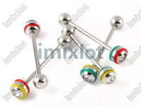 Wholesale 48pcs Mixed UV Acrylic Balls Tongue Barbell Ring Bars Piercing Body Jewelry BB36