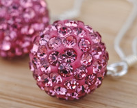 Wholesale 14MM Crystal Bead Silver Sparkling Pink Disco Crystal Ball Bead Charms Necklace Pendant