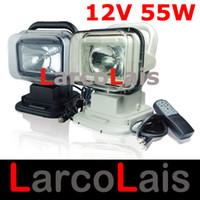 achat en gros de xénon rotation-12V 55W Rotating Télécommande sans Xenon HID Light Work Recherche pour le bateau de voitures SUV Camping Randonnées