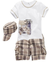 Wholesale boys fashion sets baby sets short sleeve shirt pants hats baby wear children clothes infant wear