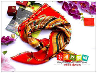 Wholesale FJ31068 Large square red flower shawl Crepe Satin Plain silk scarf silk Xm Christmas gift