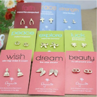 Wholesale make a wish earring stud mix lucky faith jewelry
