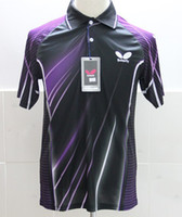 Short Polyester Anti_Static Wholesale - NEW Butterfly men's clothing Badminton T-shirt K566 color:purple