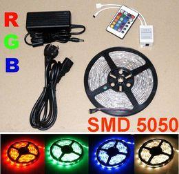 15m Multi-Color 5050 SMD RGB LED Strip Light 5m 150LED Waterproof 30leds m+ IR Remote + Power supply