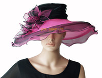 Wholesale Black wine NEW wedding ORGANZA HAT BRIDAL HAT WITH LEAVES FLOWERS IDEAL FOR KENTYCKY DERBY church