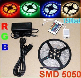 10m 5050 SMD RGB LED Strip Light 150leds Waterproof led light+IR Remote Controller+ Power adapter 12V 5A Party Garden