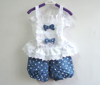 Wholesale Girl s Cotton white Dress T shirt Sett blue shorts pieces