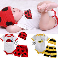 Wholesale Hot Boy Piece Suits Hat T shirt Shorts Ladybug And Bee Pattern Style Romper Baby Body Suits Sets