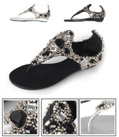 Wholesale Rome Women Bright Crystal Sandal Wedge Heel Sandals Shoes Black White Size