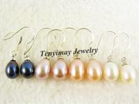 Wholesale Pairs mm Natural Freshwater Pearl Eardrops Classical Pearl Ear rings