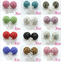 Wholesale Mix Colors New Fashion mm Crystal Disco Ball Earring Stud pairs Best Choice