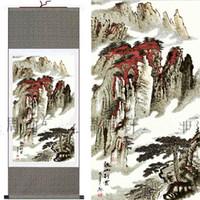 Дешевый Горные картины-Азиатские Шелковые картины Китайский пейзаж Горный настенный свиток искусства украшения L100xw35 см 1PCS освобождают