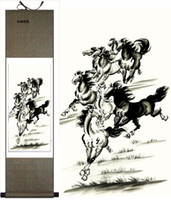 Wholesale Classical Chinese Painting Horses Decor Art Silk Scroll For Sale L100 x w cm Free