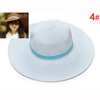 baby hat - Children Large Wide Brim Beach Hat Foldable Sun Hat with Ribbon Plastic Baby Straw Hat