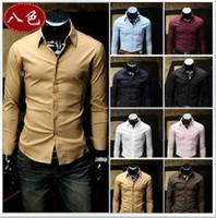 Wholesale 2012 Fashion HOT Solid color Man Slim Long sleeve Shirt Eight color