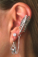Wholesale Spider ear cuff Clip on Earrings Silver Fashion Design Wrap Web Women Man LK620