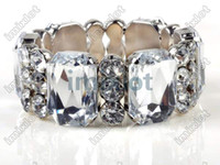 Wholesale Clear Crystal Glass Spacer Faceted Bead Bangle Cuff Elastic Bracelet Imixlot Bracelet B10