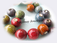 Wholesale Ceramic Loose Beads With Leopard Dot mm Mixed Color