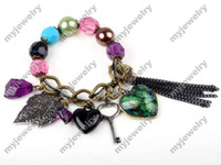 Wholesale Lovely Heart Peacock Leaf Key Colored Pearl Beads Bracelet Bohemia Style Bracelet B04
