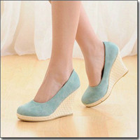 Wholesale Leisure Office Ladies Shoes Cusp Toes Wedge Heels Pumps CM High Shoes US4 GRSS25