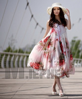 Wholesale 2012 NEW ARRIVAL Korean fashion women long maxi Chiffon dresses boho silk Floral dress beach skirt