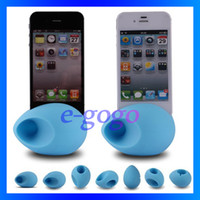 Wholesale Portable Horn Stand Amplifier with Egg design Holder Loud Speaker no external power for iphone s