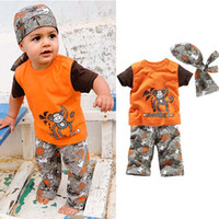 Wholesale Beach Boy s set pieces tops pants scarf hat Kids Short Sleeve Set Boys set Children Sportswear