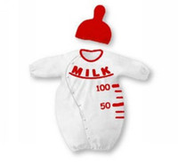 Wholesale With Milk Letter feeding bottle Design Styles Baby One Piece Romper White Red Hat Baby Kid Clothes