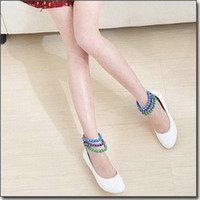 Wholesale Shallow Mouth Womens Shoes Loose Beads Belt Pumps Wedge Heels Cusp Toes Shoes US4 GRSS33