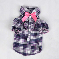 Plaid Pet Shirt with Pink Bow from Professional Factory