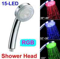 Wholesale Freeshipping Romantic LED Bathroom RGB Shower Head Water Temperature Sensor LEDs Light A10