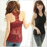 Wholesale Sexy Women Lady Crew Neck Sleeveless Shirt Top Hollow Out Vest Camisole Pierced Lace