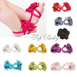 Wholesale TOP BABY Sandals baby Barefoot Sandals boys girl Shoes Baby Shoes Toddler Flower Shoes