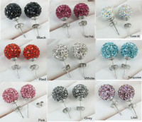 Wholesale 30pairs Mix colors Fashion mm Crystal ball Stud Earrings Best Choice