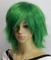 Cheap 2012 Hot Selling party wig Heat Friendly Synthetic Green Curly Wigs 10pcs lot mix order
