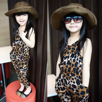 Wholesale 5pcs Kids clothes girl summer Girl leopard romper jumpsuit cargo pants bodysuit kids wear