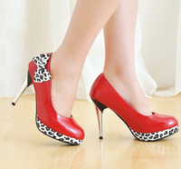 Wholesale Red High Heel Women s Shoes Leopard Bowtie Patent Leather Stiletto Lady s Dress Shoe AJEU A OA