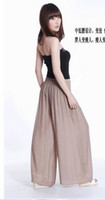 Wholesale 2012 NEW ARRIVAL Korean fashion women wide legging pant long linen high waist pant skirt