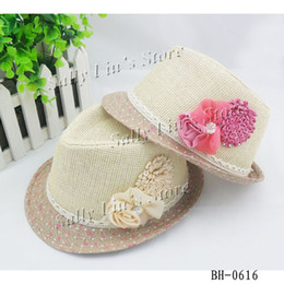 Wholesale Baby Flower Caps Baby Hat Kids Straw Fedora Hat Girls Sun Hat Children Summer Hat Jazz Cap