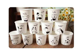 Wholesale lovely animal Chinese Zodiac Snack cups Ceramic Eco Cup porcelain Mug Coffee Cup milk cup