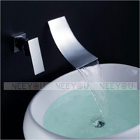 Widespread bathroom sink taps wall - HOT Sell Bathroom Wall Mounted Waterfall Basin faucet Luxury Bath Sink tap NY02761
