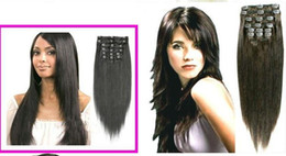 Wholesale TOP New mix order quot set clip in hair remy human hair extensions hair extension g set