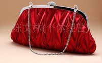 Wholesale 014 Elegant Red Satin Banquet Bag Metalic Bridal Handbags Bride Wedding Accessories