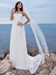 Wholesale In StockWholesale Custom Made Empire Beaded Floor length Summer Beach Wedding Dress Bridal Gown